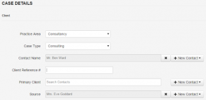 Adding a new case is simple and present all of the appropriate customer fields you added.